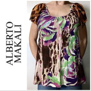 LIKE NEW Alberto Makali Animal Print Blouse XL